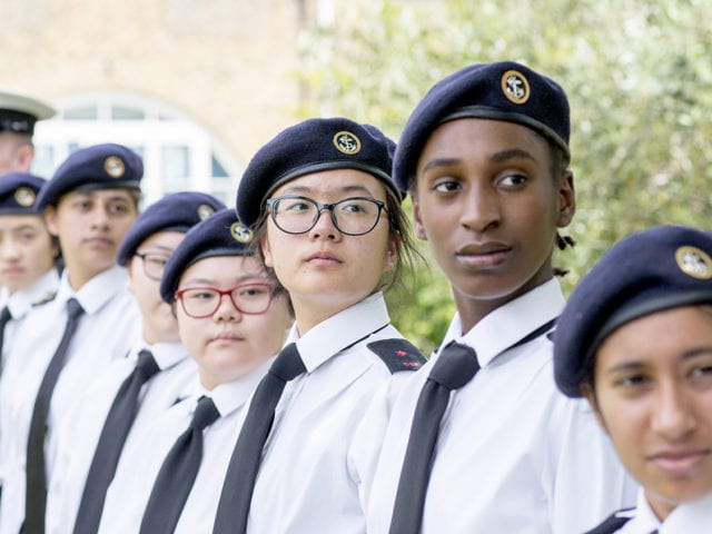 Streatham and Clapham High School SCHS join La Retraite Girls School for a joint CCF Ceremony at La Retraite School, Balham. S. London Wednesday 10th July 2019 Photo by Ian Jones